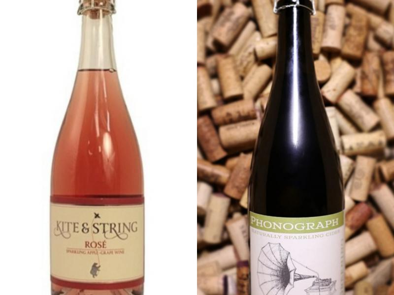 Semi-Sweet Rose Cider from Finger Lakes Cider House and Semi-Dry Greening Cider from Phonograph. $7/Glass $21/Bottle
